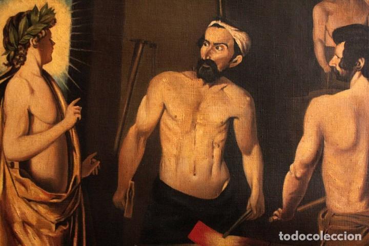 Arte: Excelente copia de la fragua de Vulcano, Oleo / lienzo. Gran tamaño. Con marco 112x89cm - Foto 5 - 287889303