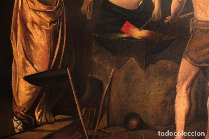 Arte: Excelente copia de la fragua de Vulcano, Oleo / lienzo. Gran tamaño. Con marco 112x89cm - Foto 6 - 287889303