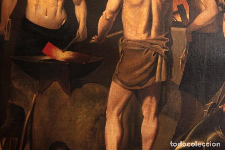 Arte: Excelente copia de la fragua de Vulcano, Oleo / lienzo. Gran tamaño. Con marco 112x89cm - Foto 7 - 287889303