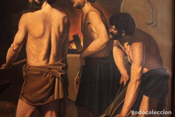 Arte: Excelente copia de la fragua de Vulcano, Oleo / lienzo. Gran tamaño. Con marco 112x89cm - Foto 8 - 287889303