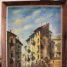 Arte: M.DOMINGO. ESC. VALENCIANA, CALLE DE PUEBLO. OLEO / LIENZO. GRANDE. ENMARCADO 112X85. Lote 287891768