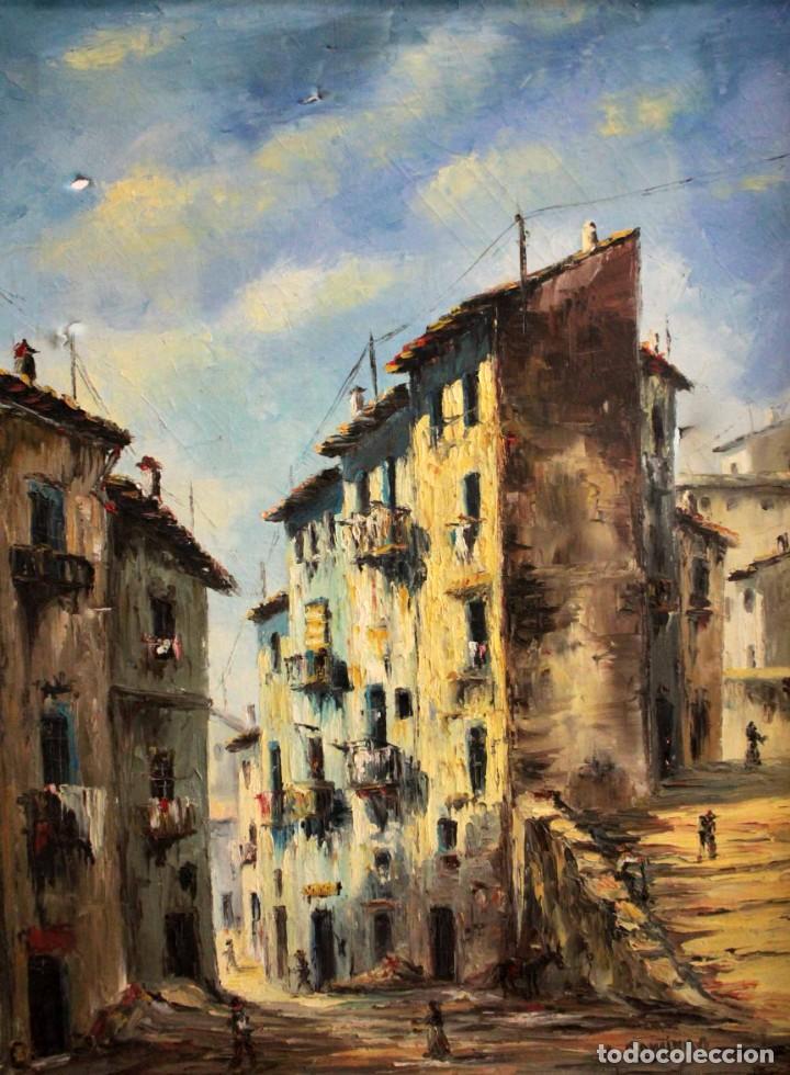 Arte: M.Domingo. Esc. valenciana, calle de pueblo. Oleo / lienzo. Grande. Enmarcado 112x85 - Foto 2 - 287891768
