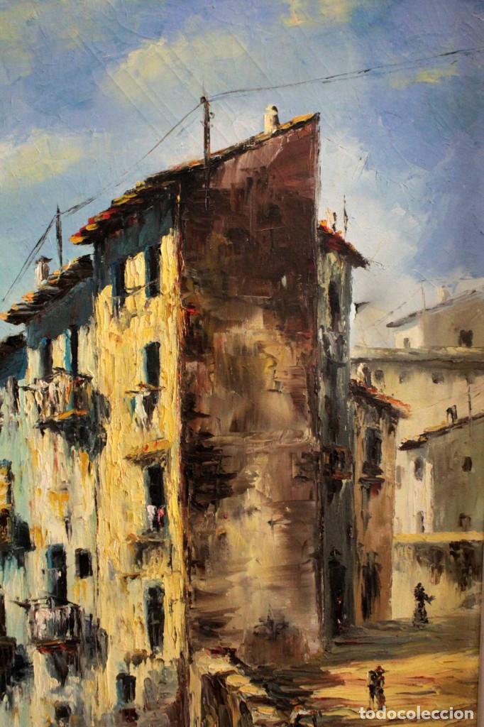 Arte: M.Domingo. Esc. valenciana, calle de pueblo. Oleo / lienzo. Grande. Enmarcado 112x85 - Foto 5 - 287891768