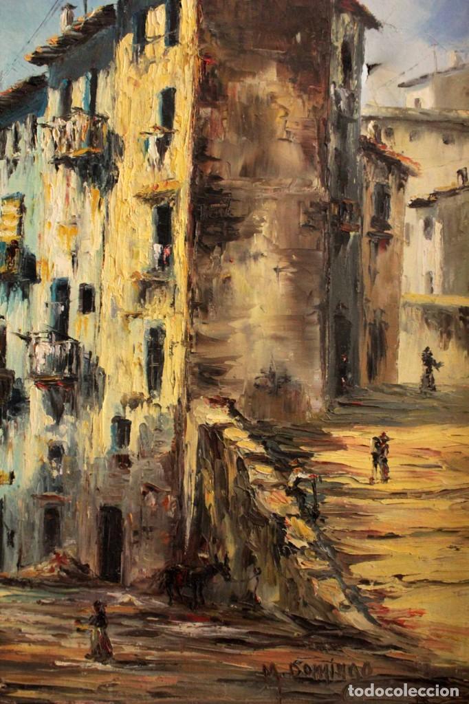 Arte: M.Domingo. Esc. valenciana, calle de pueblo. Oleo / lienzo. Grande. Enmarcado 112x85 - Foto 6 - 287891768
