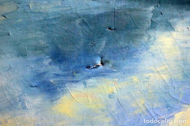 Arte: M.Domingo. Esc. valenciana, calle de pueblo. Oleo / lienzo. Grande. Enmarcado 112x85 - Foto 9 - 287891768