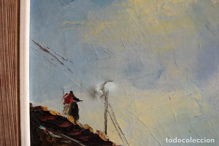 Arte: M.Domingo. Esc. valenciana, calle de pueblo. Oleo / lienzo. Grande. Enmarcado 112x85 - Foto 10 - 287891768