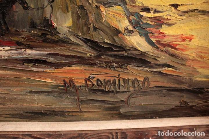 Arte: M.Domingo. Esc. valenciana, calle de pueblo. Oleo / lienzo. Grande. Enmarcado 112x85 - Foto 11 - 287891768