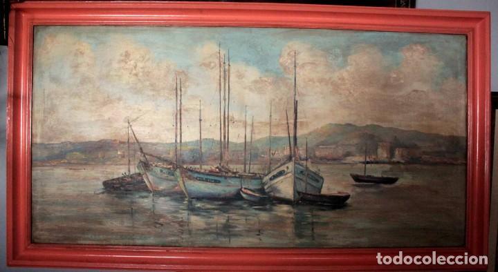 Arte: E. Benlloch, esc. valenciana, barcas en el puerto. Gran formato, buena calidad. Con marco 165x90cm - Foto 15 - 287902278