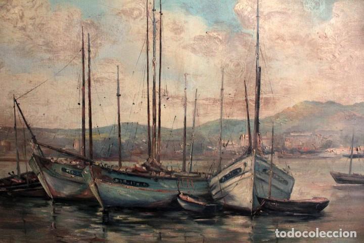 Arte: E. Benlloch, esc. valenciana, barcas en el puerto. Gran formato, buena calidad. Con marco 165x90cm - Foto 2 - 287902278