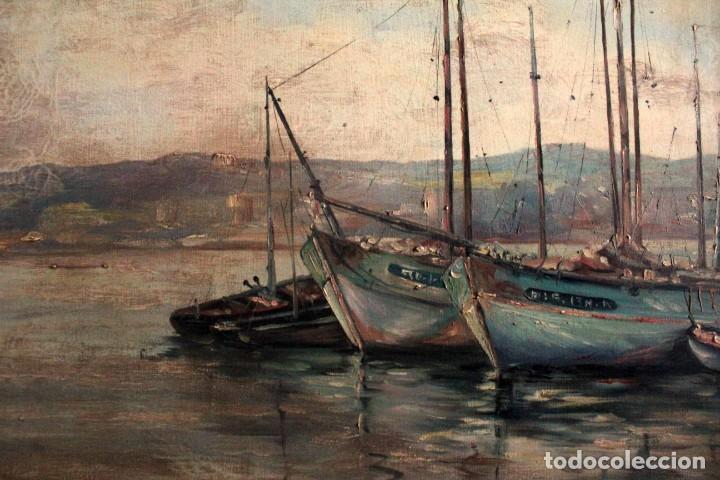 Arte: E. Benlloch, esc. valenciana, barcas en el puerto. Gran formato, buena calidad. Con marco 165x90cm - Foto 3 - 287902278