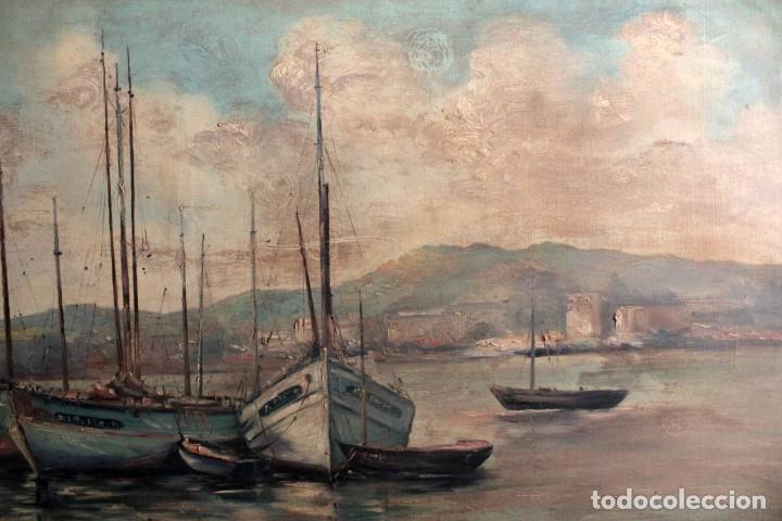 Arte: E. Benlloch, esc. valenciana, barcas en el puerto. Gran formato, buena calidad. Con marco 165x90cm - Foto 4 - 287902278