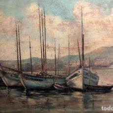 Arte: E. BENLLOCH, ESC. VALENCIANA, BARCAS EN EL PUERTO. GRAN FORMATO, BUENA CALIDAD. CON MARCO 165X90CM. Lote 287902278