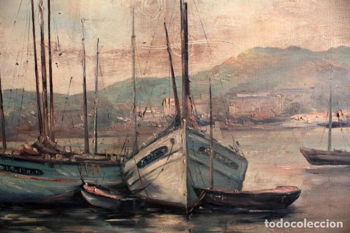 Arte: E. Benlloch, esc. valenciana, barcas en el puerto. Gran formato, buena calidad. Con marco 165x90cm - Foto 6 - 287902278