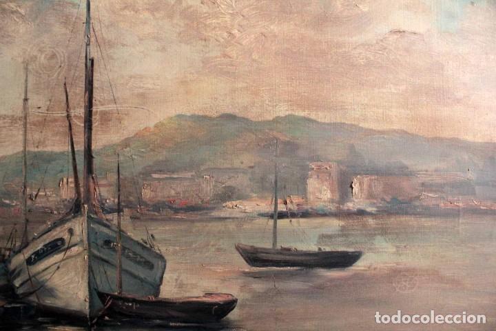 Arte: E. Benlloch, esc. valenciana, barcas en el puerto. Gran formato, buena calidad. Con marco 165x90cm - Foto 7 - 287902278
