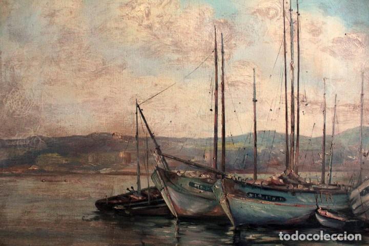 Arte: E. Benlloch, esc. valenciana, barcas en el puerto. Gran formato, buena calidad. Con marco 165x90cm - Foto 8 - 287902278