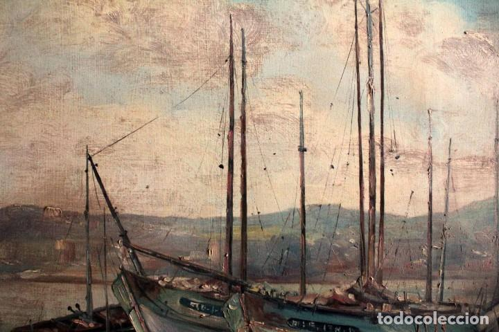 Arte: E. Benlloch, esc. valenciana, barcas en el puerto. Gran formato, buena calidad. Con marco 165x90cm - Foto 9 - 287902278