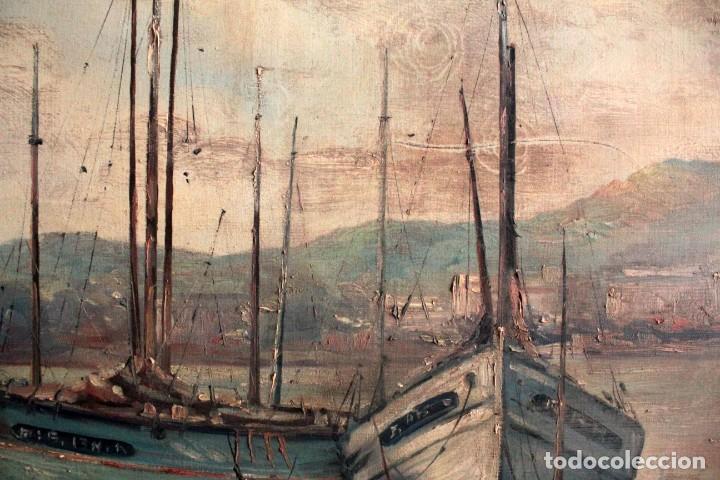 Arte: E. Benlloch, esc. valenciana, barcas en el puerto. Gran formato, buena calidad. Con marco 165x90cm - Foto 10 - 287902278