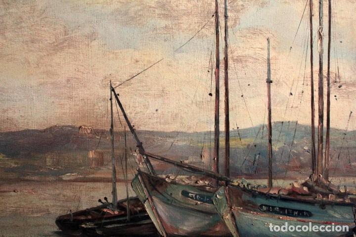 Arte: E. Benlloch, esc. valenciana, barcas en el puerto. Gran formato, buena calidad. Con marco 165x90cm - Foto 12 - 287902278
