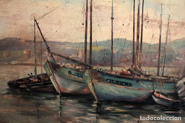 Arte: E. Benlloch, esc. valenciana, barcas en el puerto. Gran formato, buena calidad. Con marco 165x90cm - Foto 13 - 287902278