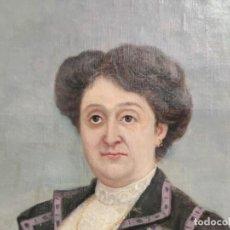 Arte: ANTIGUO RETRATO DE SEÑORA. OLEO SOBRE LIENZO. FIRMAN M. RODRIGUEZ SANCHEZ 1914, MED. 54X80 CM. ELCHE. Lote 287965843