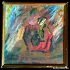 Arte: ÓLEO S. TABLA / (EXPRESIONISMO). * TOREANDO *. FIRMADO: ILEGIBLE. AÑOS 40/50 (S. XX). ENMARCADO.. Lote 288035423