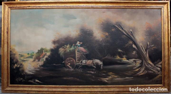 Arte: BOLUDA, enorme pintura al oleo sobre lienzo. Carro en el campo, Enmarcado 174x94cm - Foto 13 - 288042943