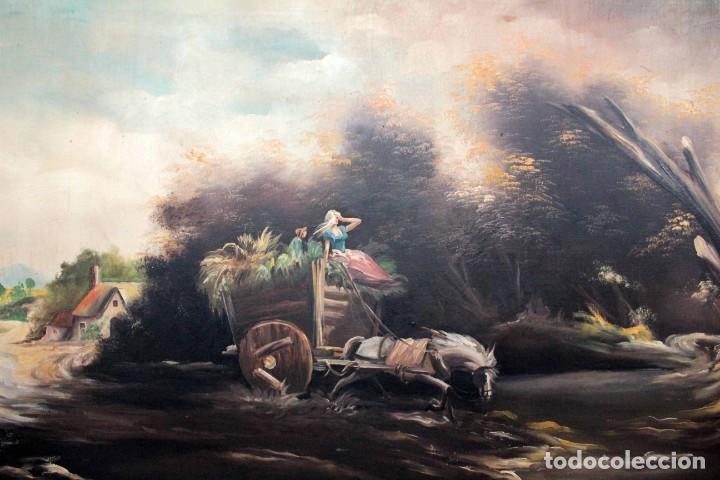 BOLUDA, ENORME PINTURA AL OLEO SOBRE LIENZO. CARRO EN EL CAMPO, ENMARCADO 174X94CM (Arte - Pintura - Pintura al Óleo Moderna sin fecha definida)