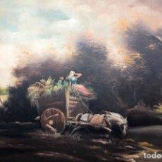Arte: BOLUDA, ENORME PINTURA AL OLEO SOBRE LIENZO. CARRO EN EL CAMPO, ENMARCADO 174X94CM. Lote 288042943