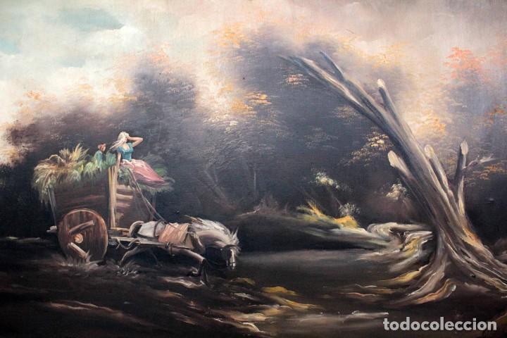 Arte: BOLUDA, enorme pintura al oleo sobre lienzo. Carro en el campo, Enmarcado 174x94cm - Foto 2 - 288042943