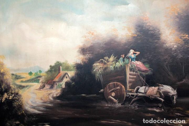 Arte: BOLUDA, enorme pintura al oleo sobre lienzo. Carro en el campo, Enmarcado 174x94cm - Foto 3 - 288042943
