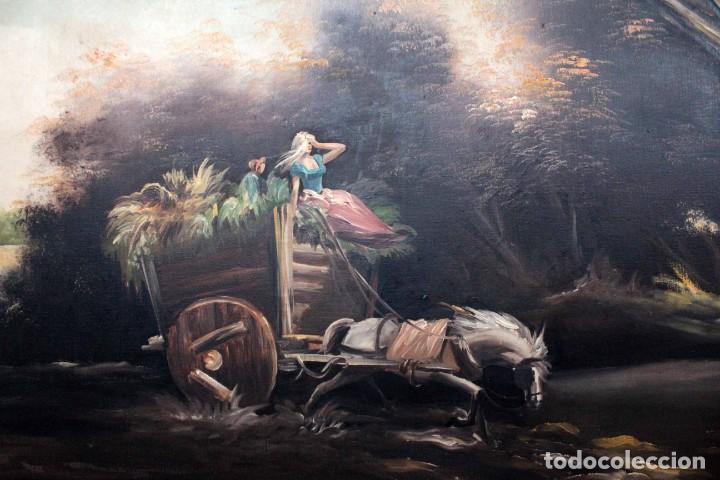 Arte: BOLUDA, enorme pintura al oleo sobre lienzo. Carro en el campo, Enmarcado 174x94cm - Foto 4 - 288042943