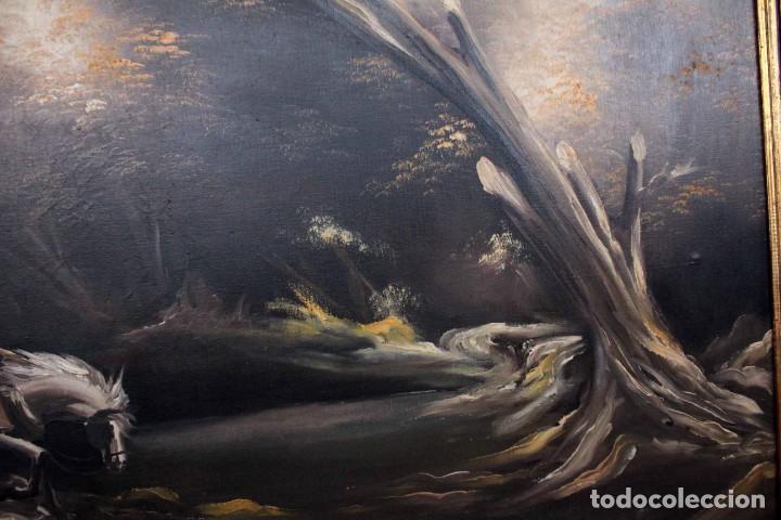 Arte: BOLUDA, enorme pintura al oleo sobre lienzo. Carro en el campo, Enmarcado 174x94cm - Foto 5 - 288042943