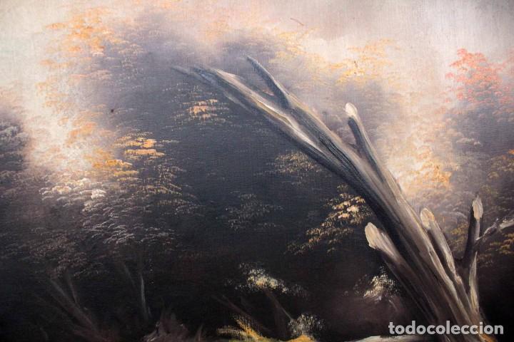 Arte: BOLUDA, enorme pintura al oleo sobre lienzo. Carro en el campo, Enmarcado 174x94cm - Foto 6 - 288042943