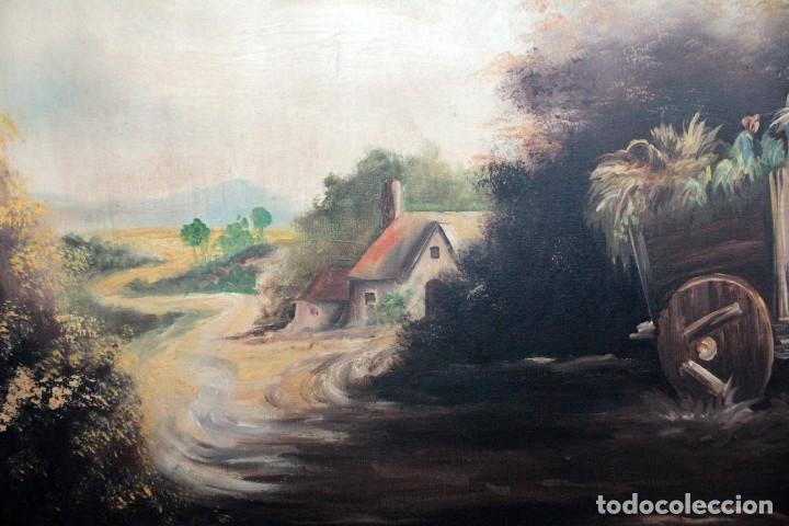 Arte: BOLUDA, enorme pintura al oleo sobre lienzo. Carro en el campo, Enmarcado 174x94cm - Foto 7 - 288042943