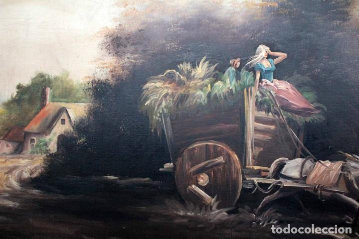 Arte: BOLUDA, enorme pintura al oleo sobre lienzo. Carro en el campo, Enmarcado 174x94cm - Foto 8 - 288042943