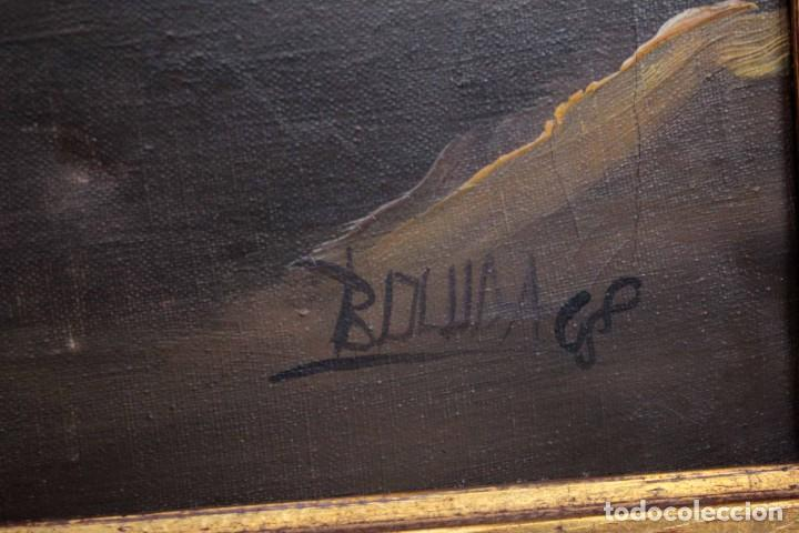 Arte: BOLUDA, enorme pintura al oleo sobre lienzo. Carro en el campo, Enmarcado 174x94cm - Foto 9 - 288042943