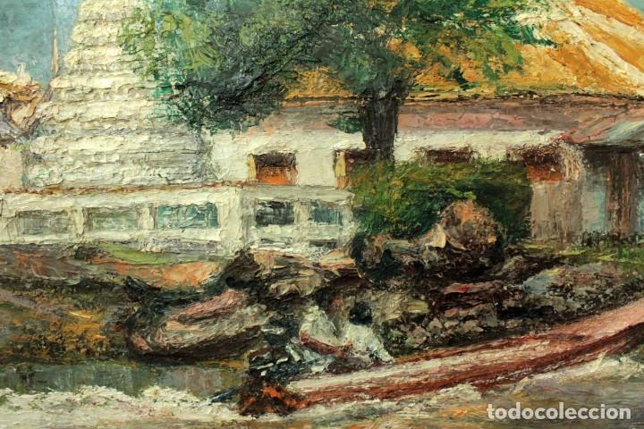 Arte: Esc. catalana primera mitad s.XX. Oleo / lienzo, anónimo, necesita restaurar. 121x95 con marco - Foto 5 - 288068888