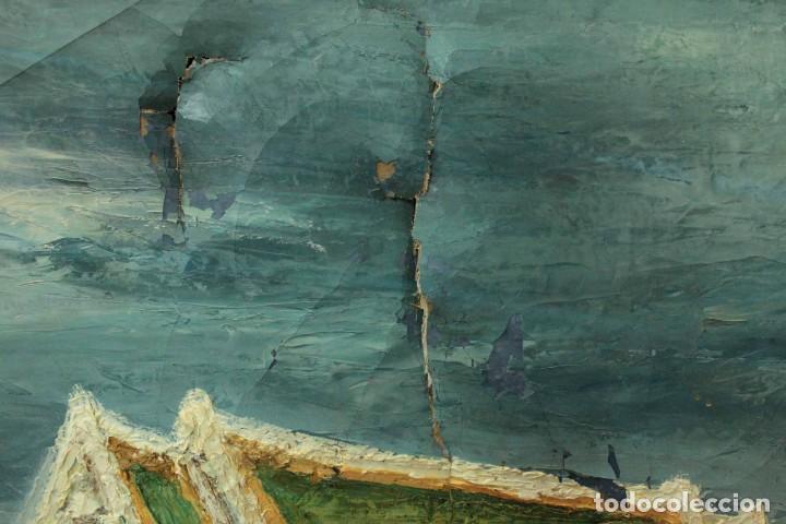 Arte: Esc. catalana primera mitad s.XX. Oleo / lienzo, anónimo, necesita restaurar. 121x95 con marco - Foto 10 - 288068888
