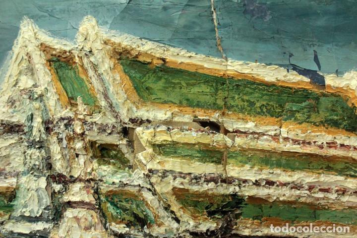 Arte: Esc. catalana primera mitad s.XX. Oleo / lienzo, anónimo, necesita restaurar. 121x95 con marco - Foto 11 - 288068888