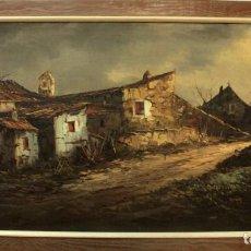 Arte: ENORME PINTURA, CASAS EN EL CAMPO, BUENA CALIDAD. CON FIRMA DE AUTOR. ENMARCADO 164X90CM. Lote 288072138