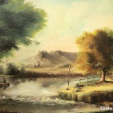 Arte: ENORME PINTURA, PAISAJE COSTUMBRISTA, ESC. VALENCIANA. FIRMADO. ENMARCADO 165X92CM. Lote 288072858