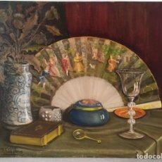 Arte: JOSEP Mª FOLCH I TORRES. BODEGÓ AMB VENTALL / BODEGÓN CON ABANICO. OLEO SOBRE LIENZO.. Lote 288141708