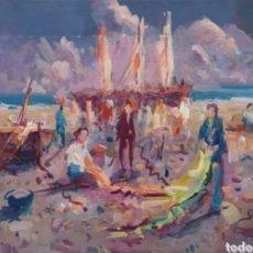 Arte: SANTIAGO ESTRUGA ALIAGA (1910-2003) - 2 ESCENAS MARINERAS.OLEOS.FIRMADOS.. Lote 288126098