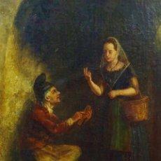 Arte: OLEO SOBRE LIENZO. ANÓNIMO. DAMA Y ZAPATERO. ESCENA COSTUMBRISTA CATALANA. SIGLO XVIII-XIX. Lote 39735935