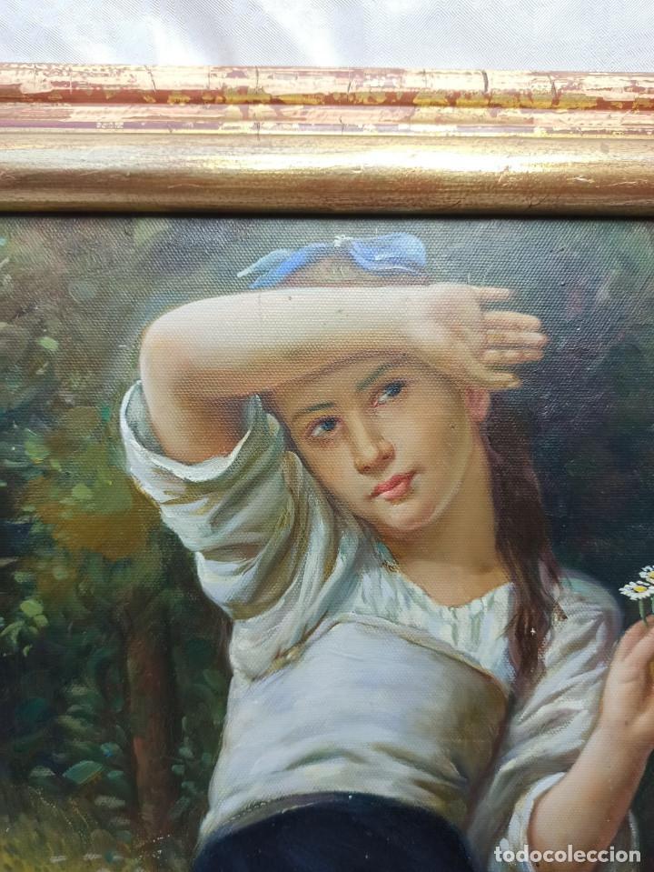 PRECIOSO OLEO SOBRE LIENZO TEMA ROMANTICO NIÑA CON FLORES FIRMADO S. ALBIACH (Arte - Pintura - Pintura al Óleo Contemporánea )