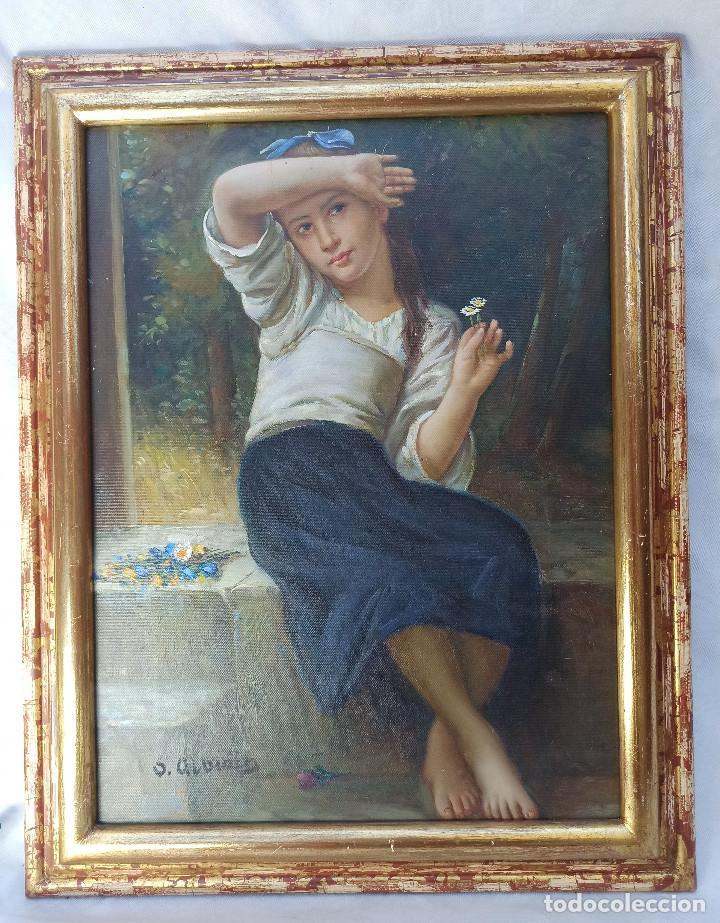 Arte: Precioso Oleo sobre lienzo tema romantico niña con flores firmado S. Albiach - Foto 2 - 288543363