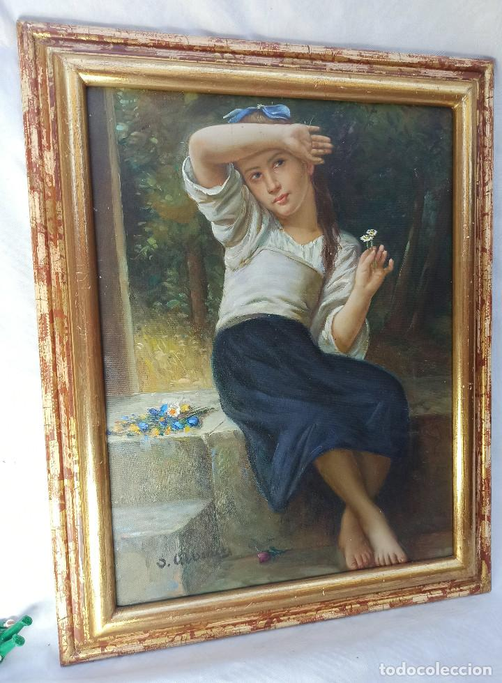 Arte: Precioso Oleo sobre lienzo tema romantico niña con flores firmado S. Albiach - Foto 4 - 288543363