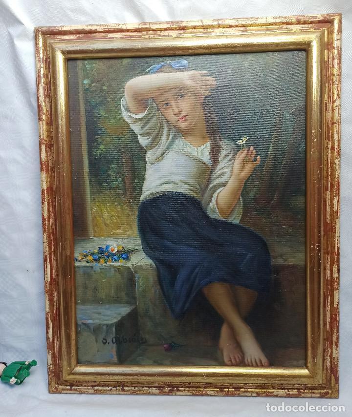 Arte: Precioso Oleo sobre lienzo tema romantico niña con flores firmado S. Albiach - Foto 5 - 288543363