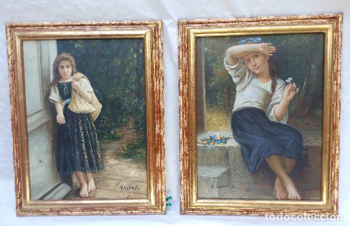 Arte: Precioso Oleo sobre lienzo tema romantico niña con flores firmado S. Albiach - Foto 7 - 288543363