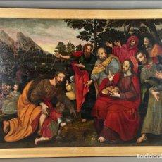 Arte: GRAN PINTURA, ESCUELA FLAMENCA DE FINALES DEL SIGLO XVI. EL MILAGRO DE LOS PANES Y LOS PECES. TABLA. Lote 288551253